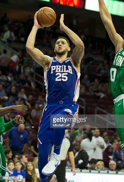 Ben Simmons of the Philadelphia 76ers shoots the ball against the Boston Celtics at the Wells Fargo Center on October 20 2017 in Philadelphia...