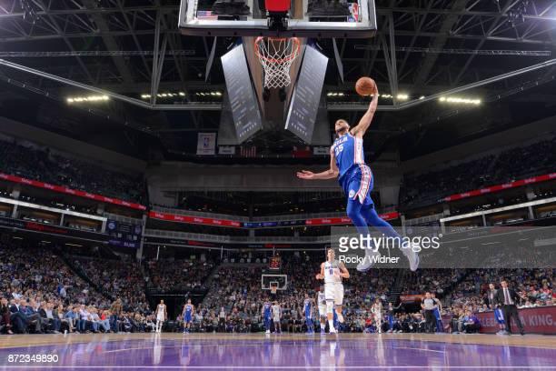 Ben Simmons of the Philadelphia 76ers shoots the ball against the Sacramento Kings on November 9 2017 at Golden 1 Center in Sacramento California...