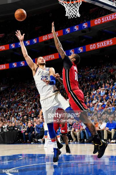 Ben Simmons of the Philadelphia 76ers shoots the ball against the Miami Heat in Game Two of Round One of the 2018 NBA Playoffs on April 16 2018 in...
