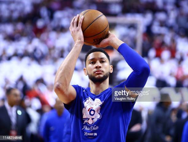 Ben Simmons of the Philadelphia 76ers shoots the ball during warm up prior to Game Five of the second round of the 2019 NBA Playoffs against the...