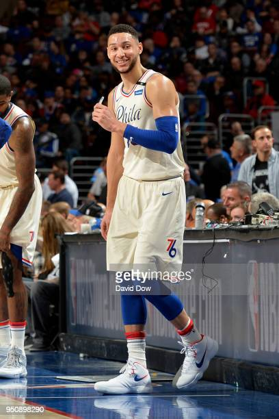 Ben Simmons of the Philadelphia 76ers smiles during the game against the Miami Heat in Game Five of Round One of the 2018 NBA Playoffs on April 24...