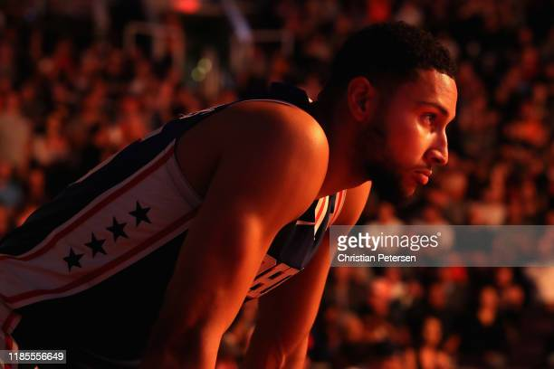 Ben Simmons of the Philadelphia 76ers stands on the court before the NBA game against the Phoenix Suns at Talking Stick Resort Arena on November 04...