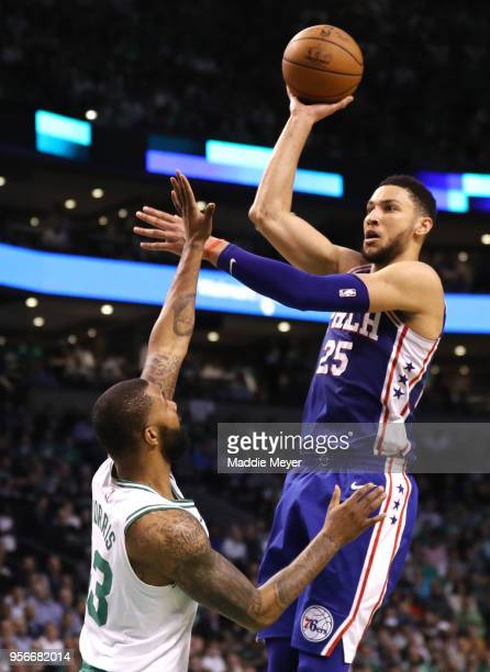 Ben Simmons of the Philadelphia 76ers takes a shot over Marcus Morris of the Boston Celtics during Game Five of the Eastern Conference Second Round...