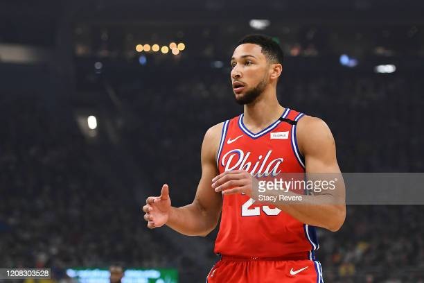 Ben Simmons of the Philadelphia 76ers waits for a pass during the first half of a game against the Milwaukee Bucks at Fiserv Forum on February 22...
