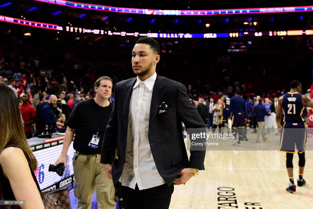 Ben Simmons #25 of the Philadelphia 76ers walks to the locker room after the game against the Indiana Pacers at the Wells Fargo Center on April 10, 2017 in Philadelphia, Pennsylvania. The Pacers won 120-111.