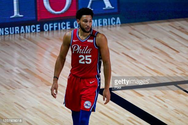 Ben Simmons of the Philadelphia 76ers walks up the court during the first half of an NBA basketball game against the Washington Wizards at The Arena...