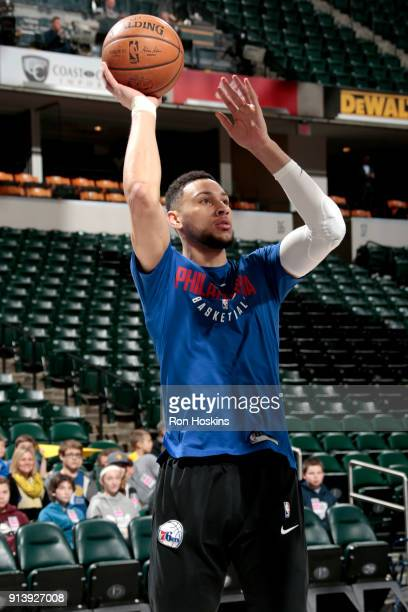 Ben Simmons of the Philadelphia 76ers warms up before the game against the Indiana Pacers on February 3 2018 at Bankers Life Fieldhouse in...