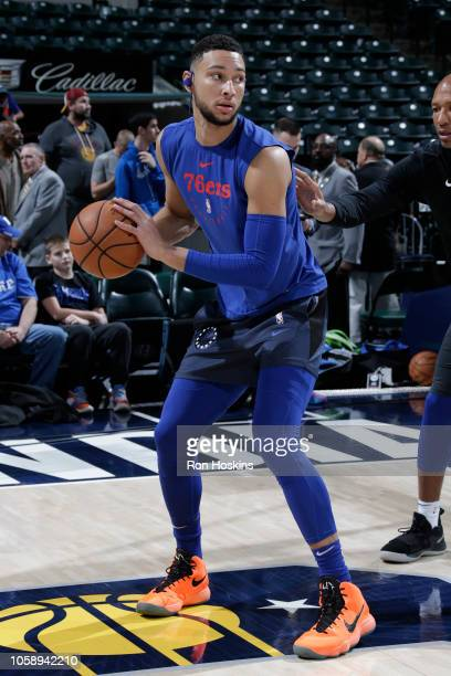 Ben Simmons of the Philadelphia 76ers warms up prior to a game against the Indiana Pacers on November 7 2018 at Bankers Life Fieldhouse in...