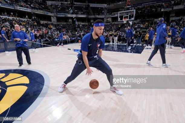 Ben Simmons of the Philadelphia 76ers warms up prior to the game against the Indiana Pacers on January 17 2019 at Bankers Life Fieldhouse in...