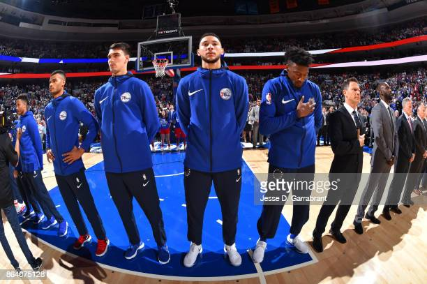 Ben Simmons of the Philadelphia 76ers with his teammates stand for the National Anthem before the game against the Boston Celtics on October 20 2017...