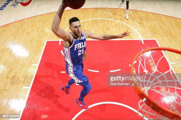 Ben Simmons of the Philadelphia 76ersp drives to the basket against the Washington Wizards on October 18 2017 at Capital One Arena in Washington DC...