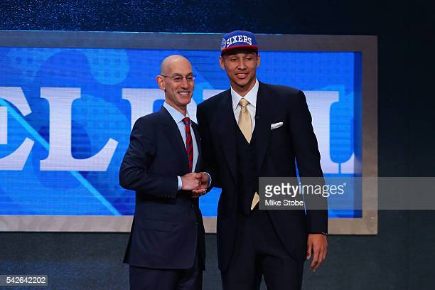 Ben Simmons poses with Commissioner Adam Silver after being drafted first overall by the Philadelphia 76ers in the first round of the 2016 NBA Draft...