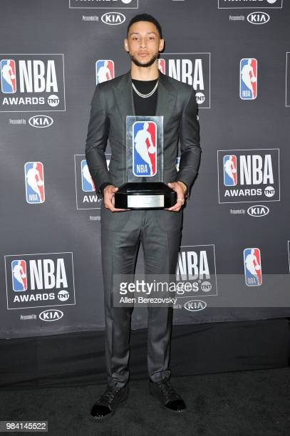Ben Simmons, winner of the 2017-2018 Rookie of the Year award, poses in the backstage photo room during the 2018 NBA Awards Show at Barker Hangar on...