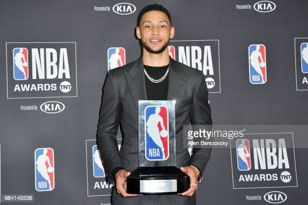 Ben Simmons winner of the 20172018 Rookie of the Year award poses in the backstage photo room during the 2018 NBA Awards Show at Barker Hangar on...