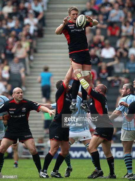 Ben Skirving of Saracens controls a line out during the Guinness Premiership match between Saracens and Bristol Rugby at the Stadium:MK on May 10 in...
