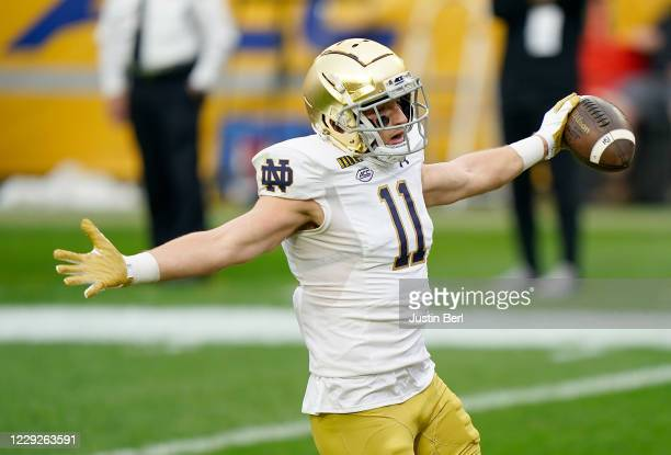 Ben Skowronek of the Notre Dame Fighting Irish celebrates in the end zone after a 34yard touchdown reception in the first quarter during the game...