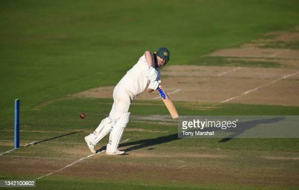 Ben Slater of Nottinghamshire bats during the LV= Insurance County Championship match at Trent Bridge on September 23, 2021 in Nottingham, England.