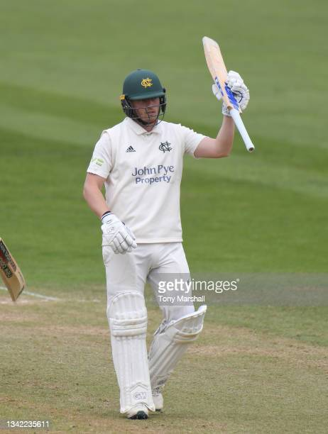 Ben Slater of Nottinghamshire celebrates reaching his 50 during the LV= Insurance County Championship match between Nottinghamshire and Yorkshire at...