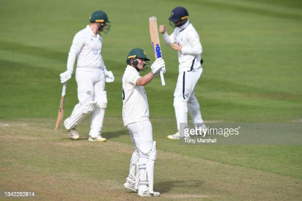 Ben Slater of Nottinghamshire celebrates their win over Yorkshire during the LV= Insurance County Championship match between Nottinghamshire and...