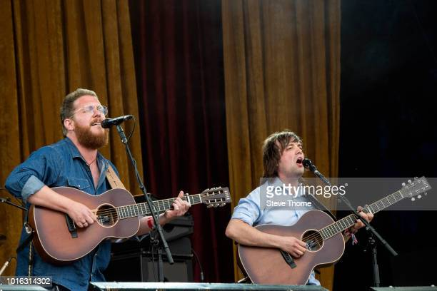 Ben Smith and Jimmy Brewer of Smith and Brewer perform at Fairport Convention's Cropredy Convention at Cropredy on August 9, 2018 in Banbury, England.