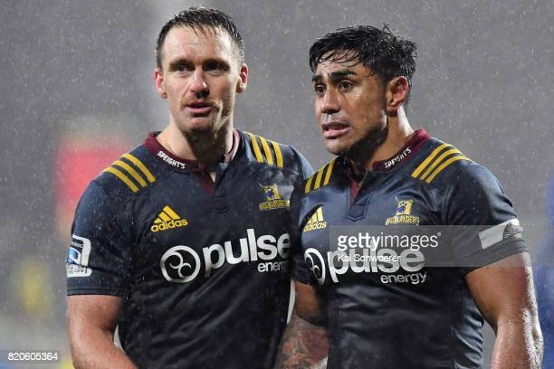 Ben Smith and Malakai Fekitoa of the Highlanders look dejected after their loss in the Super Rugby Quarter Final match between the Crusaders and the...