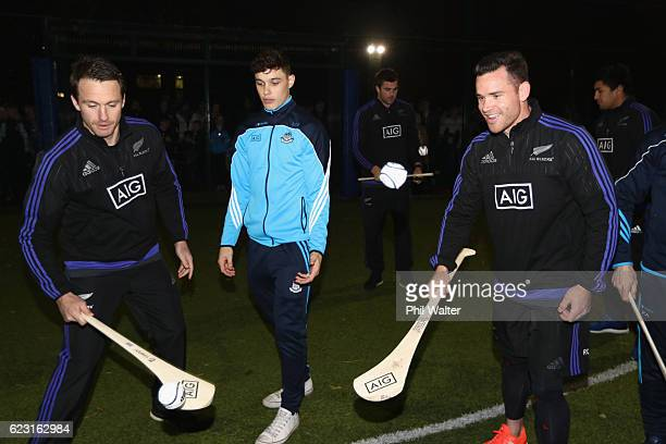 Ben Smith and Ryan Crotty of the New Zealand All Blacks try the Irish sport of Hurling and get advice from Eoghan O'Donnell of the Dublin Hurling...