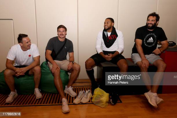 Ben Smith George Bridge and Samuel Whitelock of the All Blacks meet Eric Gordon of the Houston Rockets during a training session on October 09 2019...