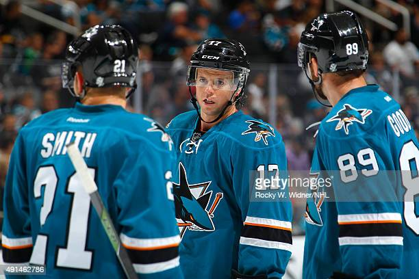 Ben Smith John McCarthy and Barclay Goodrow of the San Jose Sharks skate against the Anaheim Ducks at SAP Center on September 26 2015 in San Jose...