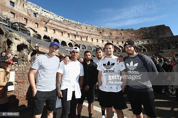 Ben Smith, Malakai Fekitoa, Lima Sopoaga, Codi Taylor, Dane Coles and Tawera Kerr-Barlow of the New Zealand All Blacks pose for a photo inside the...