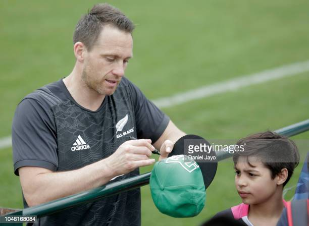 Ben Smith of New Zealand All Blacks signs autographs after a training session ahead of the match against Argentina as part of The Rugby Championship...