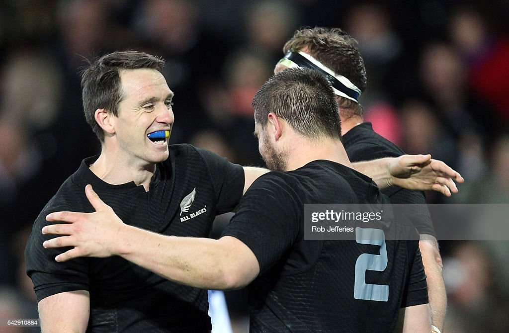 Ben Smith of New Zealand celebrates the try of Dane Coles during the International Test match between the New Zealand All Blacks and Wales at Forsyth Barr Stadium on June 25, 2016 in Dunedin, New Zealand.