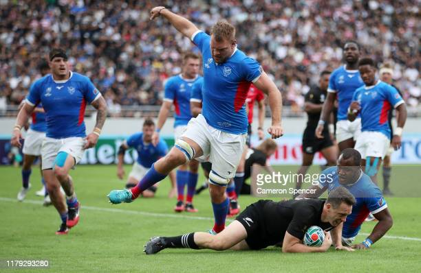 Ben Smith of New Zealand during the Rugby World Cup 2019 Group B game between New Zealand and Namibia at Tokyo Stadium on October 06, 2019 in Chofu,...