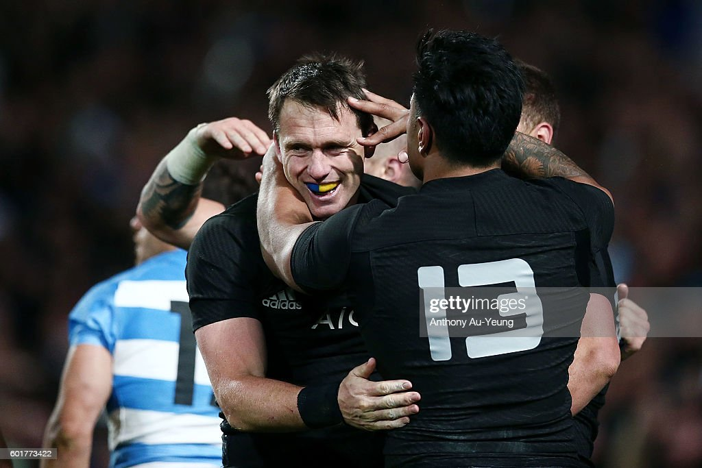 Ben Smith of New Zealand is mobbed by teammates after scoring a try during the Rugby Championship match between the New Zealand All Blacks and Argentina at Waikato Stadium on September 10, 2016 in Hamilton, New Zealand.
