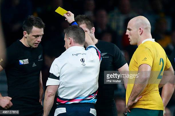 Ben Smith of New Zealand is sent to the sin bin by referee Nigel Owens of Wales during the 2015 Rugby World Cup Final match between New Zealand and...