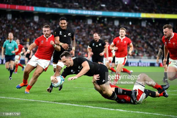 Ben Smith of New Zealand scores a try, but it is disallowed during the Rugby World Cup 2019 Bronze Final match between New Zealand and Wales at Tokyo...