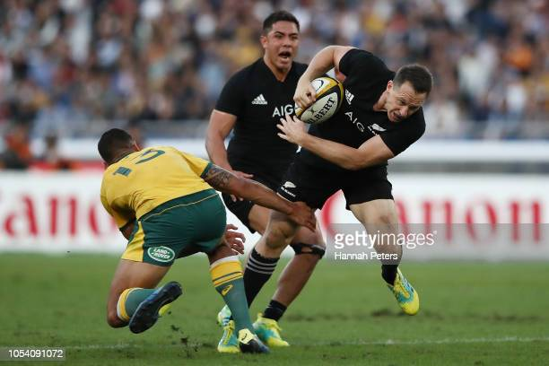 Ben Smith of the All Blacks charges forward during the Bledisloe Cup test match between the New Zealand All Blacks and Australian Wallabies at Nissan...