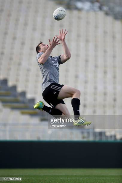 Ben Smith of the All Blacks gets under the high ball during a New Zealand All Blacks training session at Trafalgar Park on September 6 2018 in Nelson...
