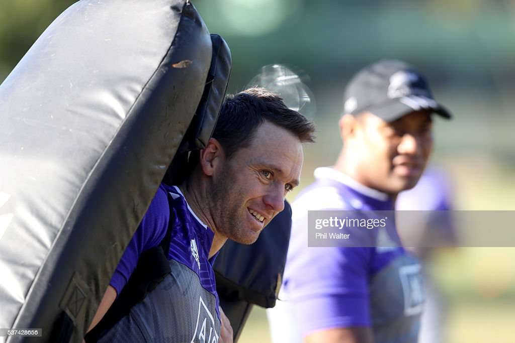 Ben Smith of the All Blacks holds a tackle bag during a New Zealand All Blacks training session at Trusts Stadium on June 2, 2016 in Auckland, New Zealand.