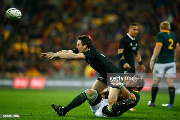 Ben Smith of the All Blacks is tackled by Duane Vermeulen of the Springboks during The Rugby Championship match between the New Zealand All Blacks...