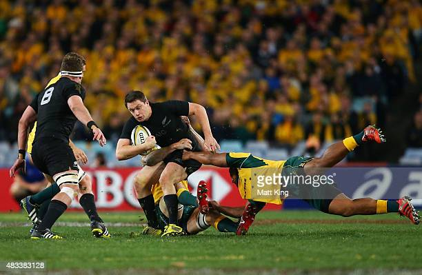 Ben Smith of the All Blacks is tackled during The Rugby Championship match between the Australia Wallabies and the New Zealand All Blacks at ANZ...