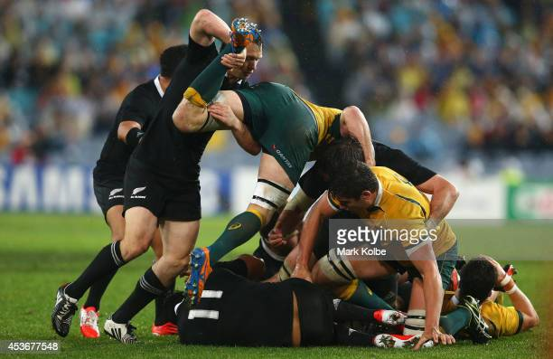 Ben Smith of the All Blacks lifts Scott Fardy of the Wallabies off the ball during The Rugby Championship match between the Australian Wallabies and...