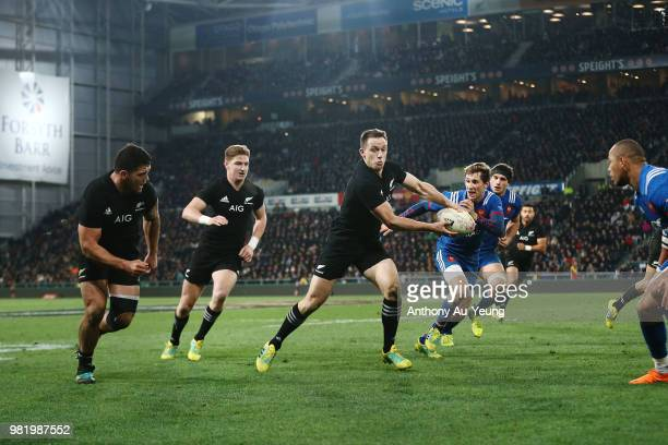 Ben Smith of the All Blacks makes a run during the International Test match between the New Zealand All Blacks and France at Forsyth Barr Stadium on...