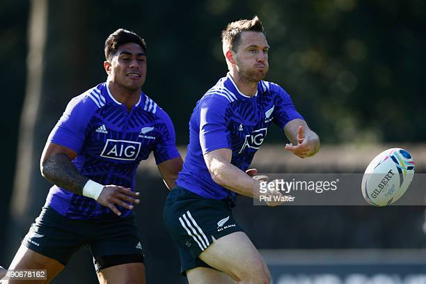 Ben Smith of the All Blacks passes during a New Zealand All Blacks Training Session at Sophia Gardens on September 30, 2015 in Cardiff, United...