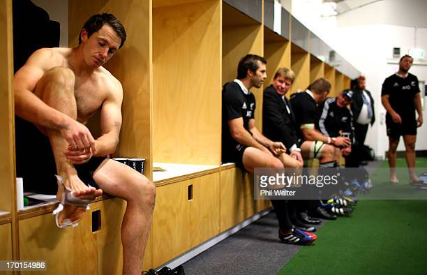 Ben Smith of the All Blacks sits in the dressing room following the first test match between the New Zealand All Blacks and France at Eden Park on...
