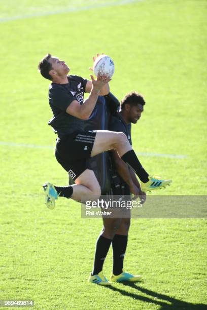 Ben Smith of the All Blacks takes the high ball during the New Zealand All Blacks Captain's Run at Eden Park on June 8 2018 in Auckland New Zealand