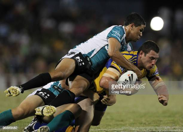 Ben Smith of the Eels is tackled during the NRL trial match between the Penrith Panthers and the Parramatta Eels at CUA Stadium on February 20 2010...