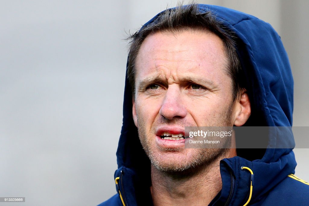 Ben Smith of the Highlanders after he chipped his tooth during the Super Rugby pre-season match between the Highlanders and the Waratahs on February 2, 2018 in Queenstown, New Zealand.