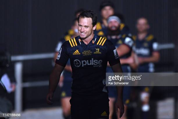 Ben Smith of the Highlanders leads his team onto the field during the round 9 Super Rugby match between the Crusaders and Highlanders at Christchurch...