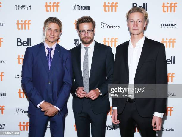 Ben Spence Simon Baker and Samson Coulter attend the 'Breath' premiere during the 2017 Toronto International Film Festival at Scotiabank Theatre on...