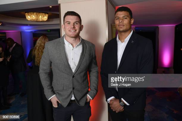 Ben Spencer and Nathan Earle attend The Nordoff Robbins Six Nations Championship Rugby dinner held at Grosvenor House on January 17 2018 in London...